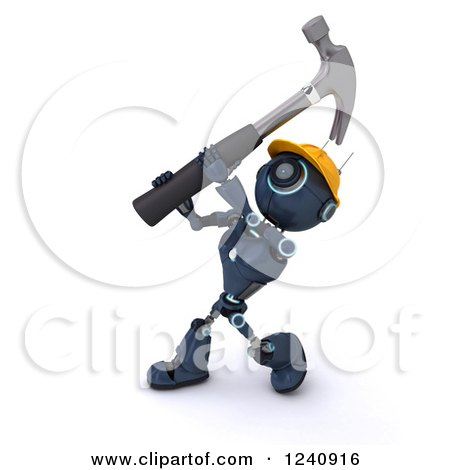 3d Blue Android Construction Robot Hammering Posters, Art Prints
