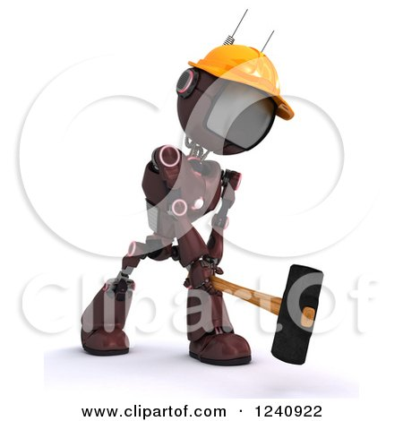 3d Red Android Construction Robot Demolishing with a Sledgehammer 2 Posters, Art Prints