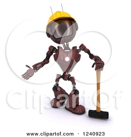 3d Red Android Construction Robot Standing with a Sledgehammer Posters, Art Prints