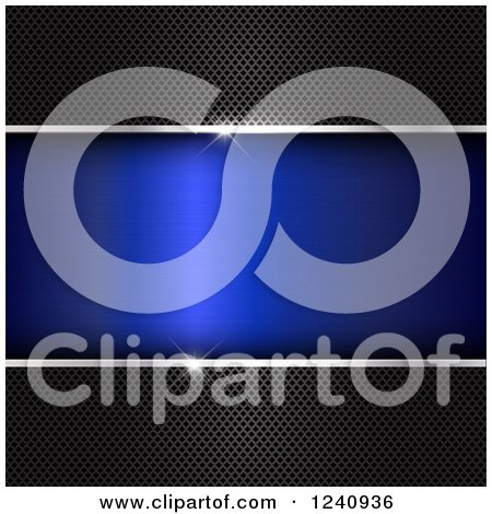 Clipart of 3d Perforated Metal Panels Framing Blue Text Space, with Flares of Light - Royalty Free Vector Illustration by KJ Pargeter