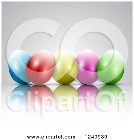 Clipart of a Row of 3d Colorful Easter Eggs and Reflections on Gray - Royalty Free Vector Illustration by KJ Pargeter