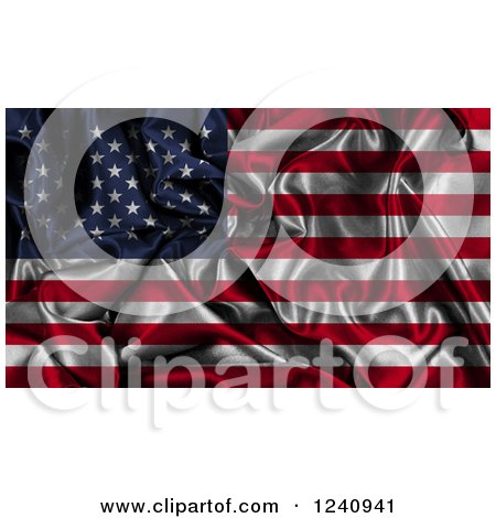 Clipart of a 3d Rippled American Flag Background - Royalty Free Illustration by KJ Pargeter