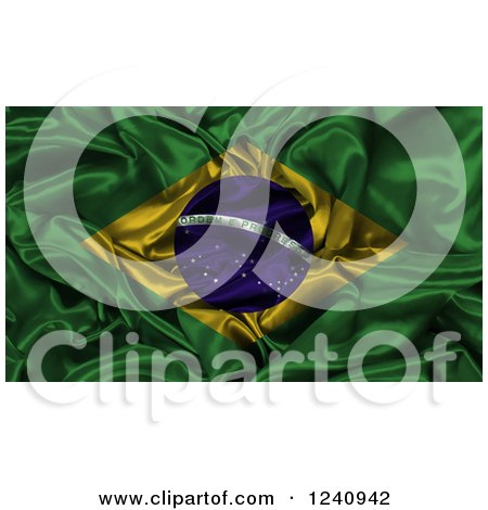 Clipart of a 3d Crumpled Brazilian Flag - Royalty Free Illustration by KJ Pargeter