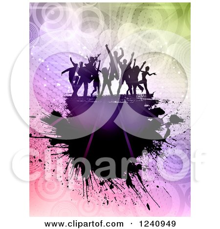 Clipart of Silhouetted Dancers over Gradient Circles and Grunge - Royalty Free Vector Illustration by KJ Pargeter