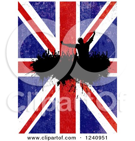 Clipart of a Silhouetted Crowd of Fans Cheering over a Distressed Union Jack British Flag - Royalty Free Vector Illustration by KJ Pargeter