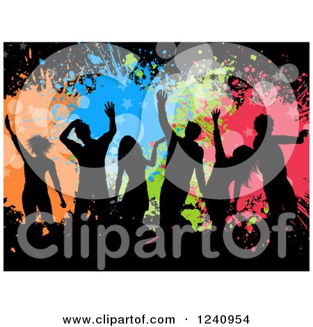Silhouetted Dancers over Colorful Splatters and Stars on Black Posters, Art Prints