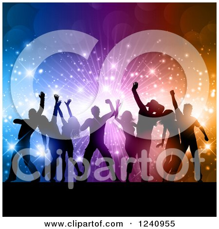 Clipart of Silhouetted Dancers over a Burst of Colorful Lights and Flares - Royalty Free Vector Illustration by KJ Pargeter