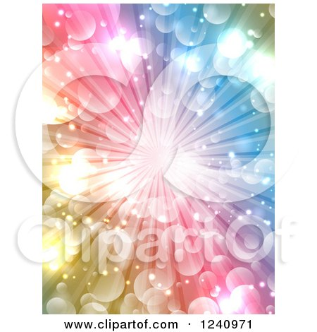 Clipart of a Colorful Burst Background with Light Flares - Royalty Free Vector Illustration by KJ Pargeter