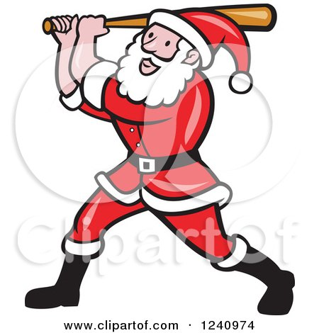 Clipart of Santa Claus Swinging a Basketball Bat - Royalty Free Vector Illustration by patrimonio