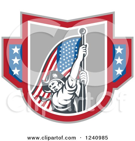 Clipart of a Retro American Revolutionary Soldier Patriot Minuteman Carrying a Flag in a Shield - Royalty Free Vector Illustration by patrimonio