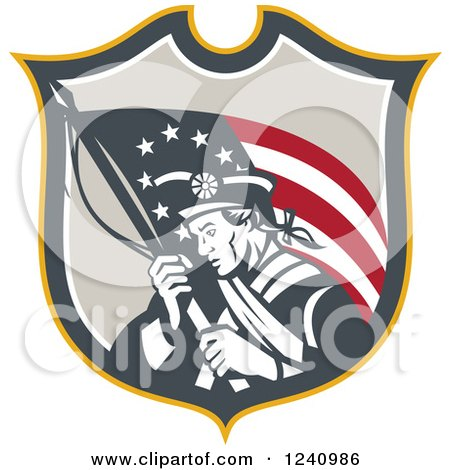 Clipart of a Retro American Revolutionary Soldier Patriot Minuteman with a Flag in a Shield - Royalty Free Vector Illustration by patrimonio