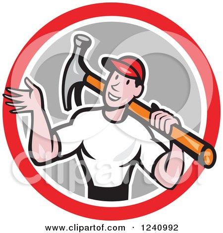 Cartoon Handyman Waving and Carrying a Hammer in a Circle Posters, Art Prints
