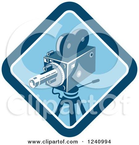 Clipart of a Retro Blue Movie Camera in a Diamond - Royalty Free Vector Illustration by patrimonio