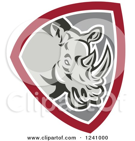 Clipart of a Retro Rhino in a Gray and Maroon Shield - Royalty Free Vector Illustration by patrimonio