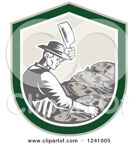 Clipart of a Retro Woodcut Male Fishmonger Chopping Meat in a Green Shield - Royalty Free Vector Illustration by patrimonio