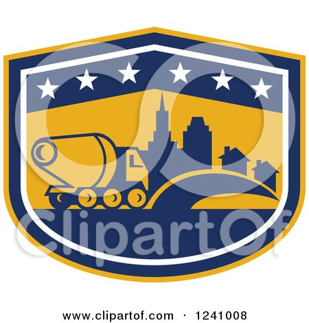 Cartoon Of A Cement Truck on a Road - Royalty Free Vector Clipart ...