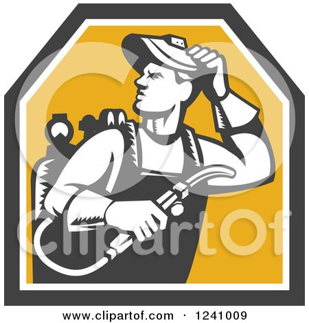 Clipart of a Woodcut Male Welder in a Shield - Royalty Free Vector Illustration by patrimonio