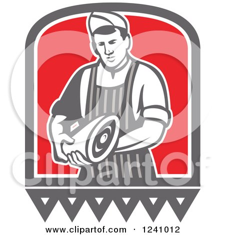 Clipart of a Retro Male Butcher Holding Meat - Royalty Free Vector Illustration by patrimonio