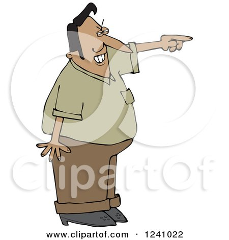 Clipart of a Mad Indian Man Pointing - Royalty Free Vector Illustration by djart