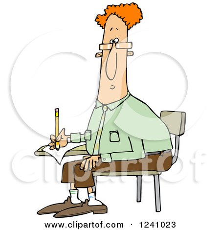 Clipart of a Red Haired Man Writing at a Desk - Royalty Free Vector Illustration by djart