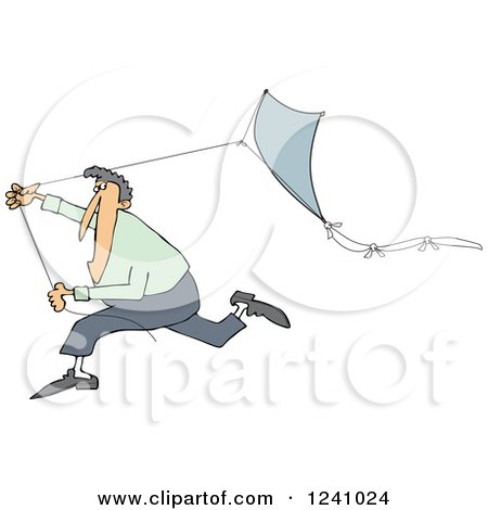 Clipart of a Caucasian Man Running with a Kite - Royalty Free Vector Illustration by djart