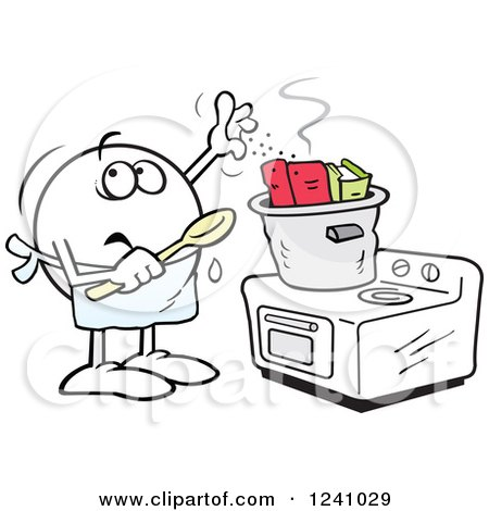 Clipart of a Fearful Moodie Emoticon Cooking the Books - Royalty Free Vector Illustration by Johnny Sajem