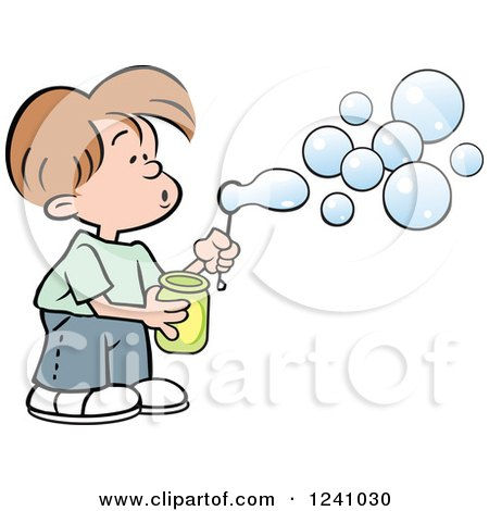 Clipart of a Caucasian Boy Blowing Bubbles - Royalty Free Vector Illustration by Johnny Sajem