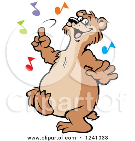 Clipart of a Happy Bear Dancing with Colorful Music Notes - Royalty Free Vector Illustration by Johnny Sajem