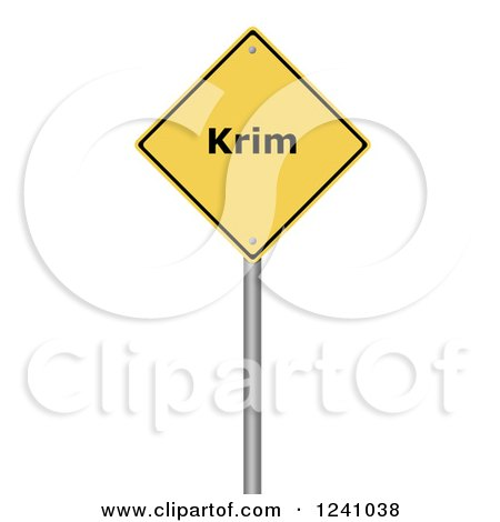 Clipart of a 3d Yellow Warning Krim Sign, on a White Background - Royalty Free Illustration by oboy