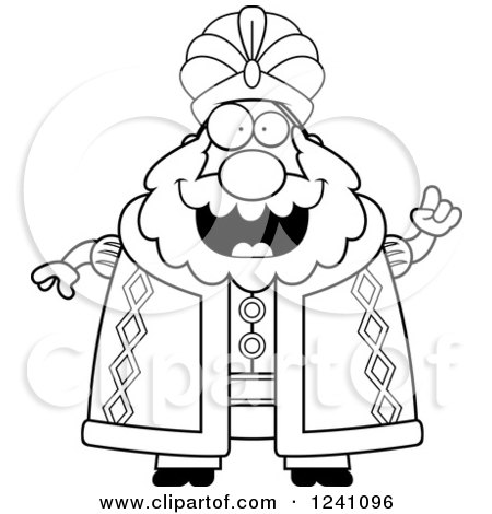 Clipart of a Black and White Chubby Sultan with an Idea - Royalty Free Vector Illustration by Cory Thoman