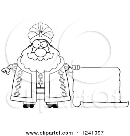 Clipart of a Black and White Chubby Sultan with a Scroll Sign - Royalty Free Vector Illustration by Cory Thoman