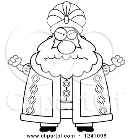 Clipart of a Black and White Mad Chubby Sultan Waving His Fists - Royalty Free Vector Illustration by Cory Thoman
