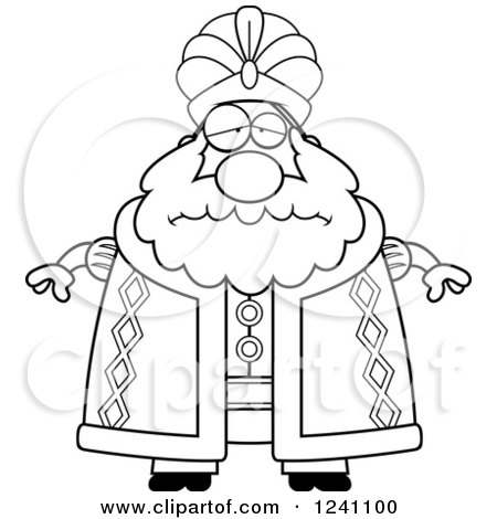 Clipart of a Black and White Depressed Sad Chubby Sultan - Royalty Free Vector Illustration by Cory Thoman