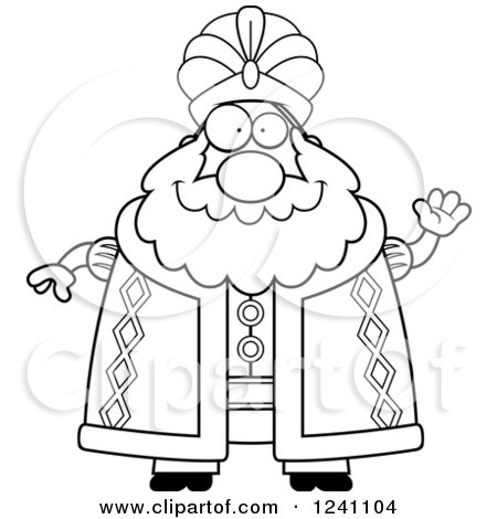 Clipart of a Black and White Friendly Waving Chubby Sultan - Royalty Free Vector Illustration by Cory Thoman