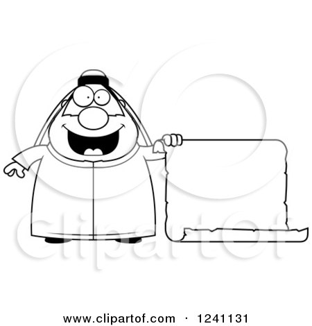Clipart of a Black and White Chubby Sheikh with a Scroll Sign - Royalty Free Vector Illustration by Cory Thoman