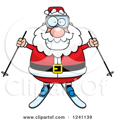 Clipart of a Happy Skiing Santa Holding out Poles - Royalty Free Vector Illustration by Cory Thoman