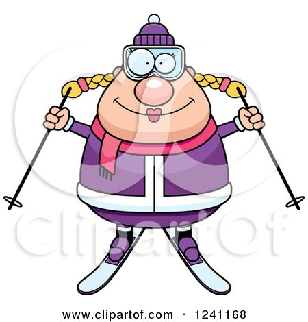 Clipart of a Happy Chubby Female Skier - Royalty Free Vector Illustration by Cory Thoman