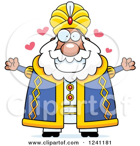 Clipart of a Chubby Sultan with Open Arms and Hearts - Royalty Free Vector Illustration by Cory Thoman