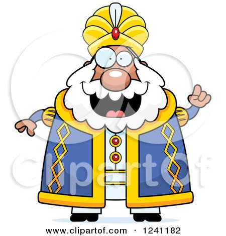 Clipart of a Chubby Sultan with an Idea - Royalty Free Vector Illustration by Cory Thoman