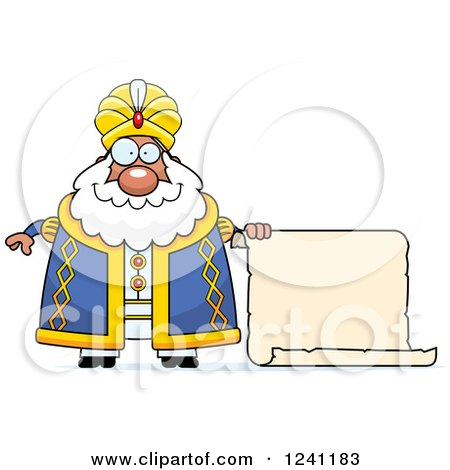 Clipart of a Chubby Sultan with a Scroll Sign - Royalty Free Vector Illustration by Cory Thoman