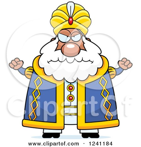 Clipart of a Mad Chubby Sultan Waving His Fists - Royalty Free Vector Illustration by Cory Thoman