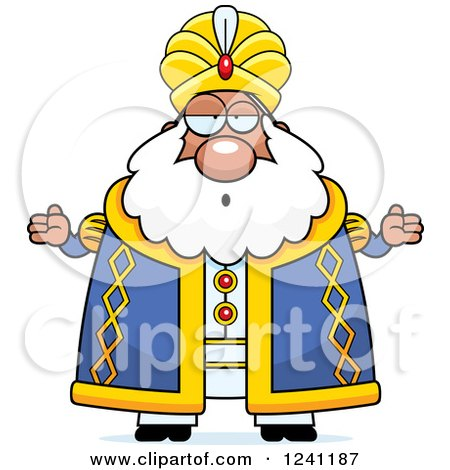 Clipart of a Careless Shrugging Chubby Sultan - Royalty Free Vector Illustration by Cory Thoman