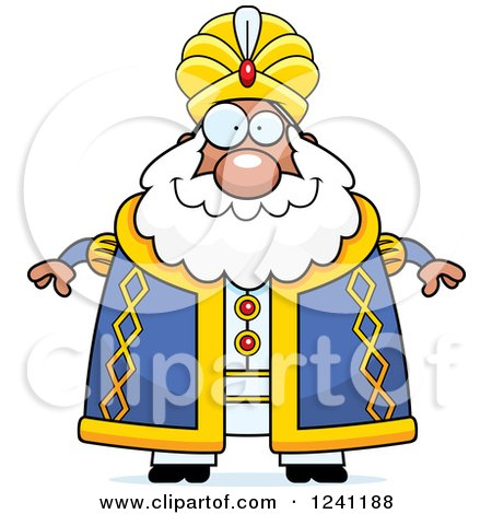Clipart of a Happy Chubby Sultan - Royalty Free Vector Illustration by Cory Thoman