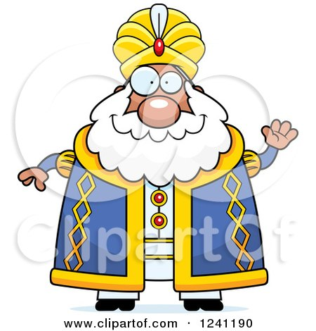 Clipart of a Friendly Waving Chubby Sultan - Royalty Free Vector Illustration by Cory Thoman