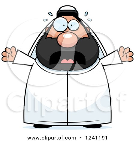 Clipart of a Scared Screaming Chubby Sheikh - Royalty Free Vector Illustration by Cory Thoman
