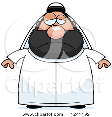 Clipart of a Depressed Sad Chubby Sheikh - Royalty Free Vector Illustration by Cory Thoman