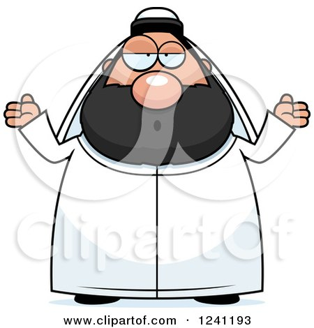 Clipart of a Careless Shrugging Chubby Sheikh - Royalty Free Vector Illustration by Cory Thoman