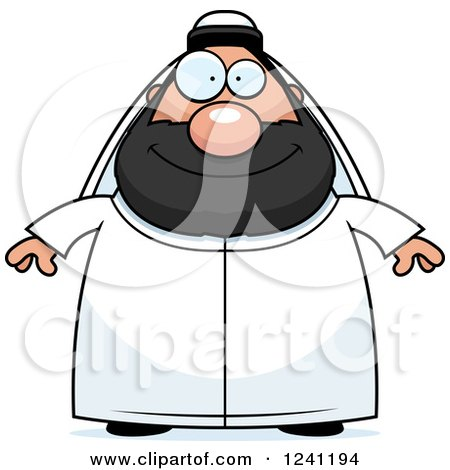 Clipart of a Happy Chubby Sheikh - Royalty Free Vector Illustration by Cory Thoman