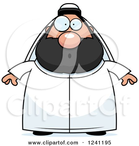 Clipart of a Surprised Gasping Chubby Sheikh - Royalty Free Vector Illustration by Cory Thoman