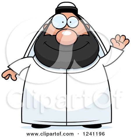 Clipart of a Friendly Waving Chubby Sheikh - Royalty Free Vector Illustration by Cory Thoman